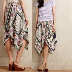 Anthropologie Maeve Floral Asymmetrical skirt